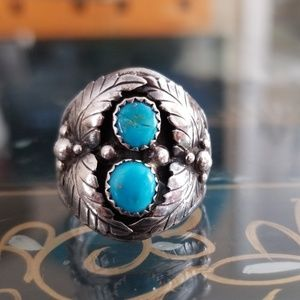 VTG Navajo Sterling Silver & Turquoise SZ 8 Ring